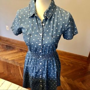 Denim/chambray button dress with stars SP